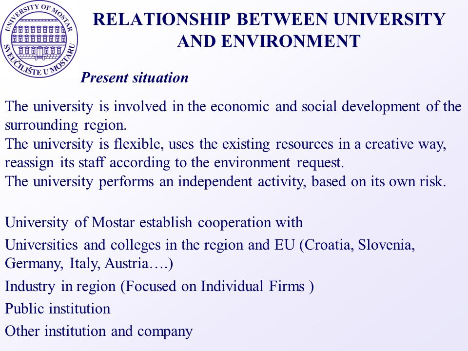RELATIONSHIP BETWEEN UNIVERSITY AND ENVIRONMENT