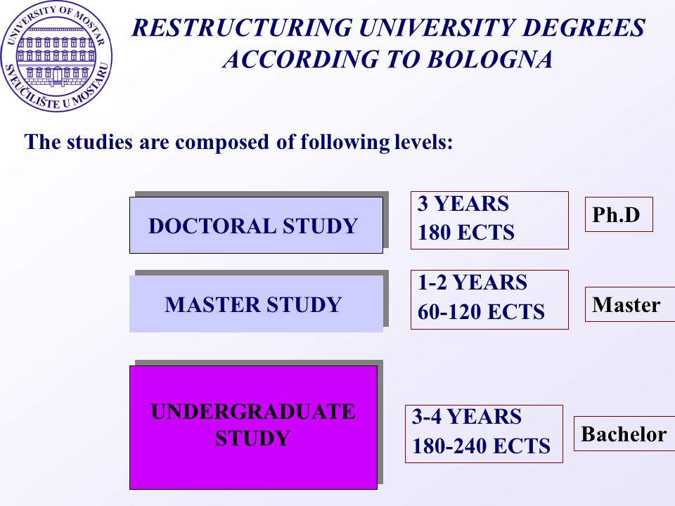 RESTRUCTURING UNIVERSITY DEGREES ACCORDING TO BOLOGNA
