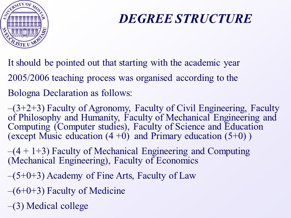 DEGREE STRUCTURE It should be pointed out that starting with the academic year. 2005/2006 teaching process was organised according to the.