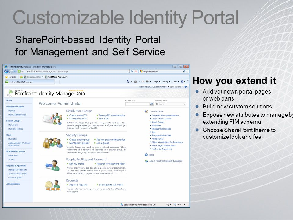 Customizable Identity Portal