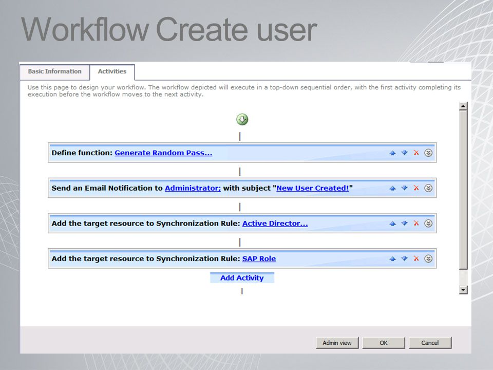 Workflow Create user