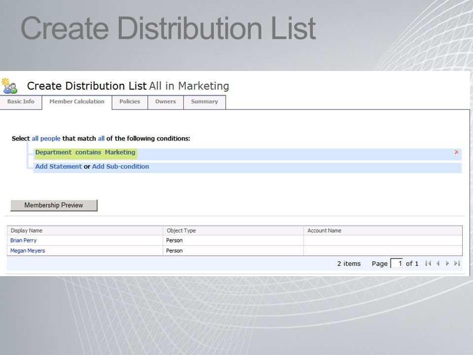 Create Distribution List