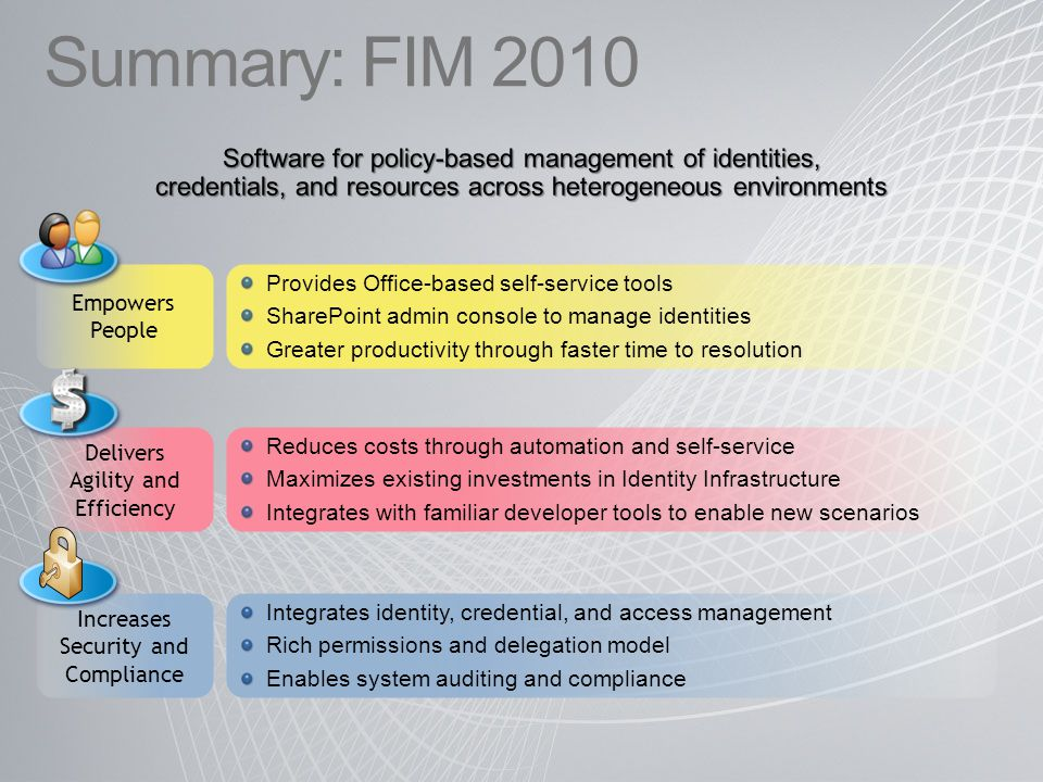 Summary: FIM 2010 Software for policy-based management of identities, credentials, and resources across heterogeneous environments.