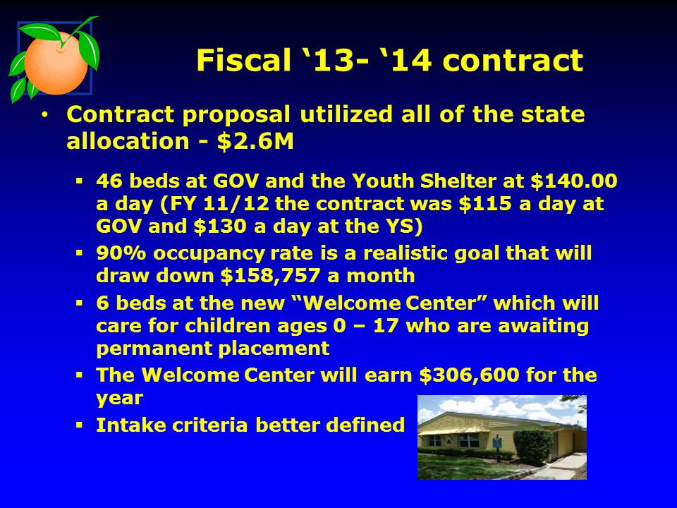 Fiscal '13- '14 contract Contract proposal utilized all of the state allocation - $2.6M.