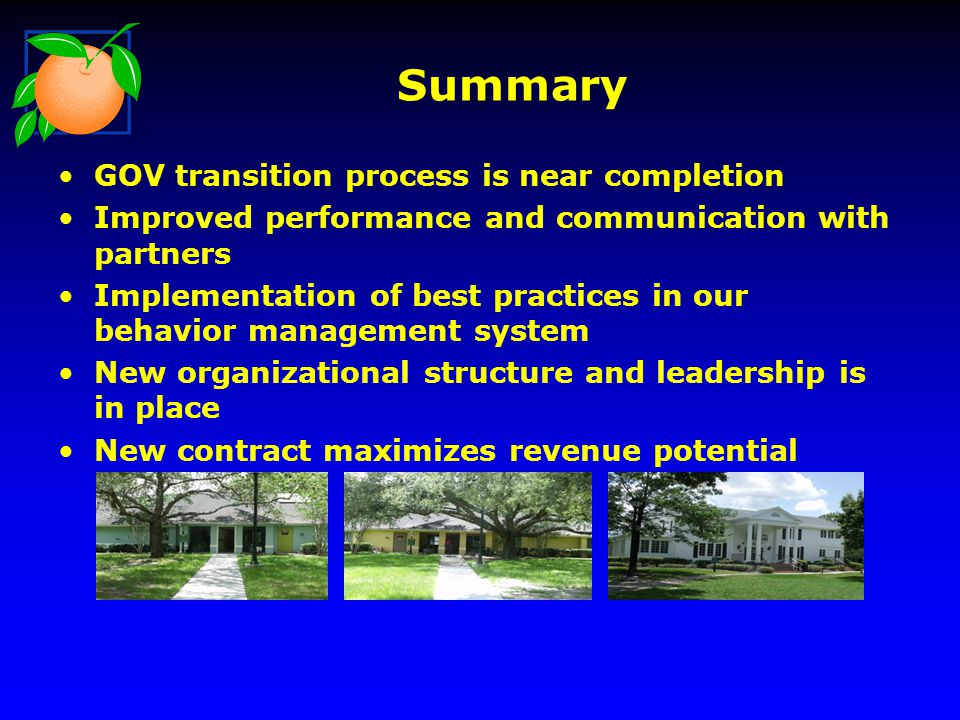 Summary GOV transition process is near completion