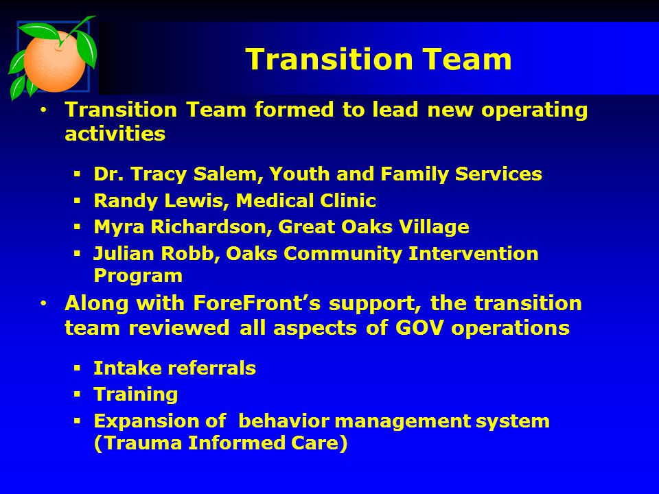 Transition Team Transition Team formed to lead new operating activities. Dr. Tracy Salem, Youth and Family Services.