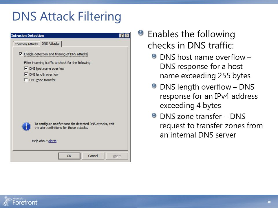 DNS Attack Filtering Enables the following checks in DNS traffic: