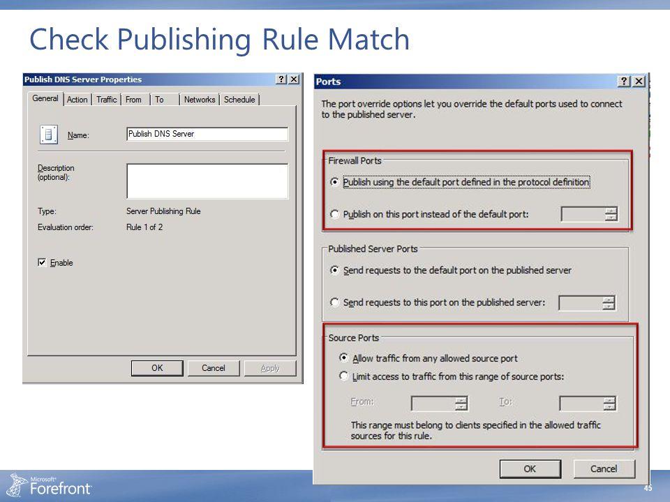 Check Publishing Rule Match