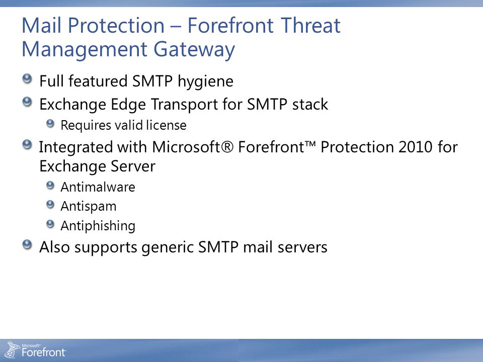 Mail Protection – Forefront Threat Management Gateway