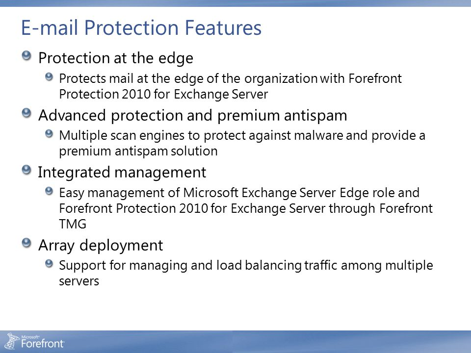 E-mail Protection Features