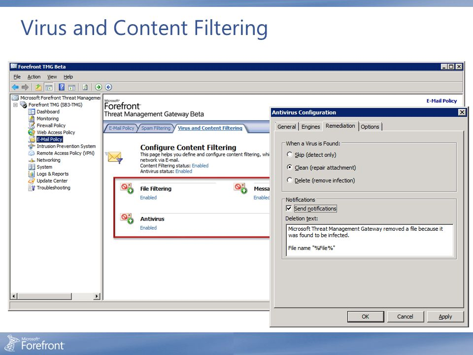 Virus and Content Filtering