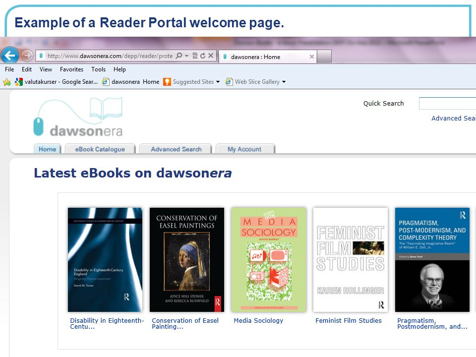Example of a Reader Portal welcome page.