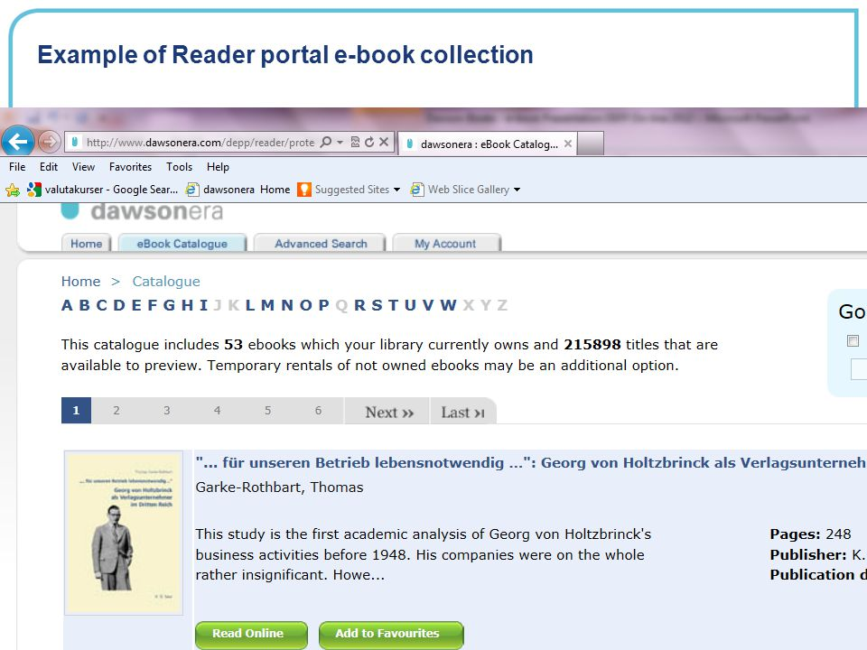 Example of Reader portal e-book collection
