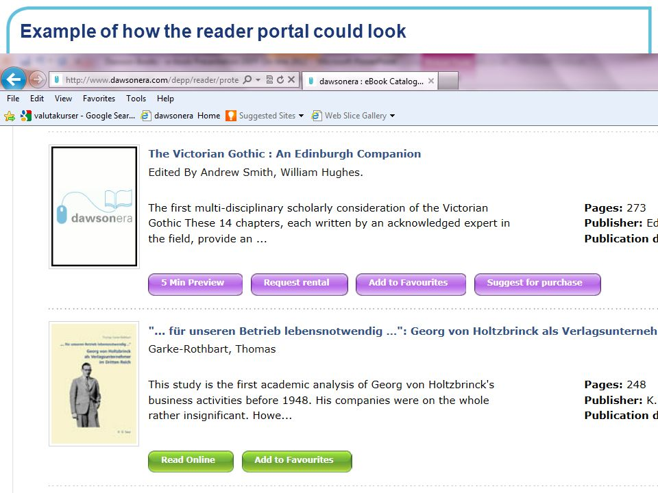 Example of how the reader portal could look