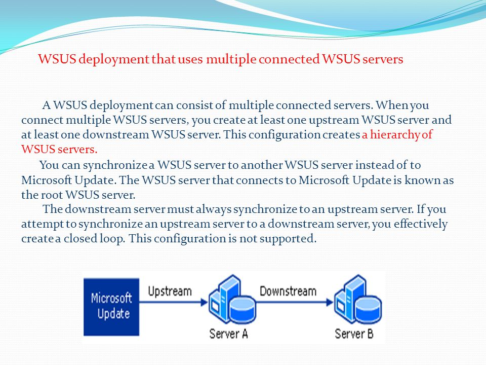 WSUS deployment that uses multiple connected WSUS servers