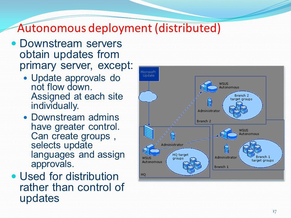 Autonomous deployment (distributed)