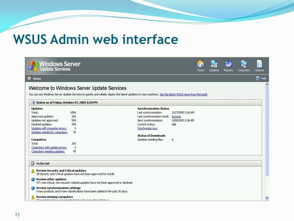 WSUS Admin web interface