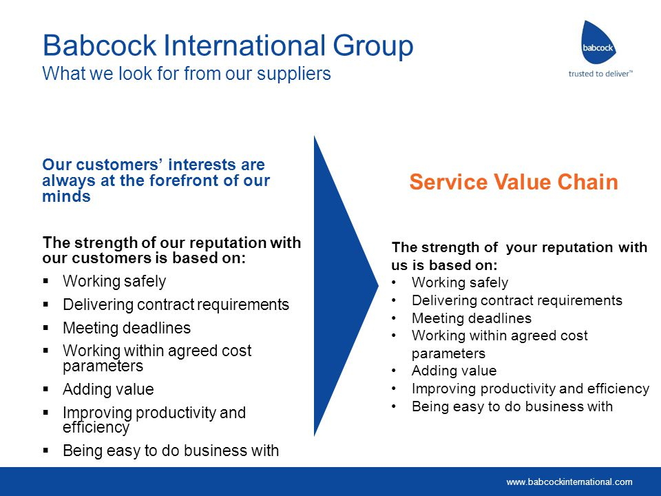 Babcock International Group What we look for from our suppliers