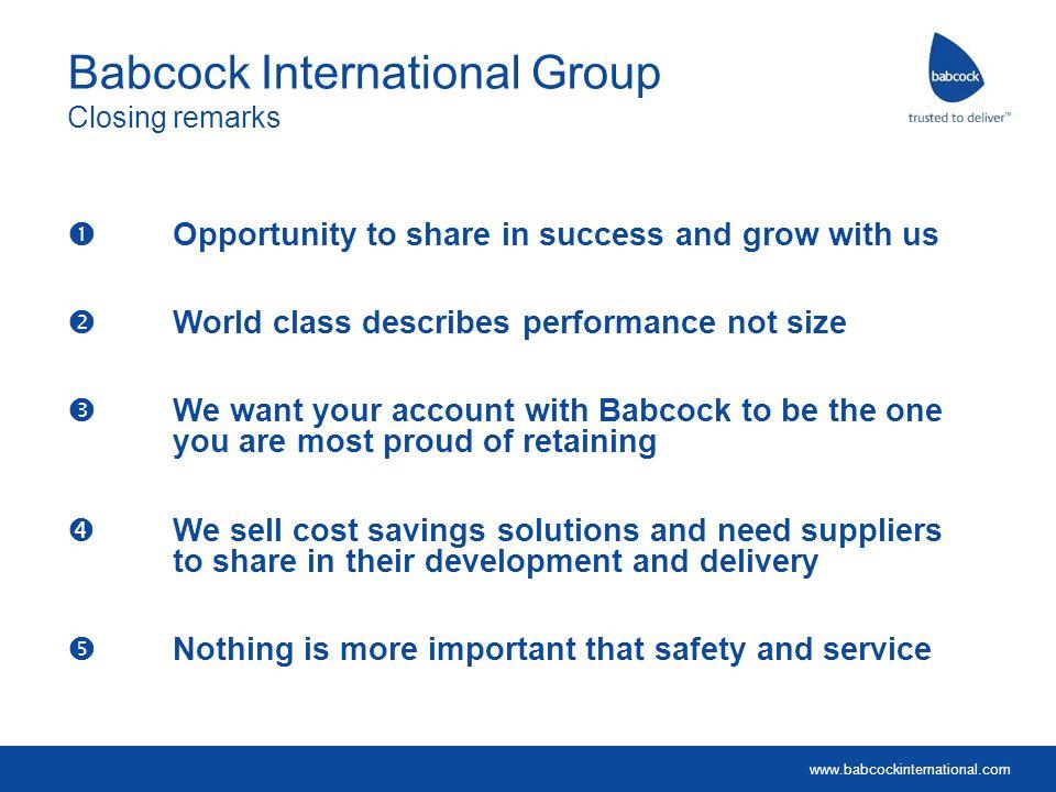 Babcock International Group Closing remarks