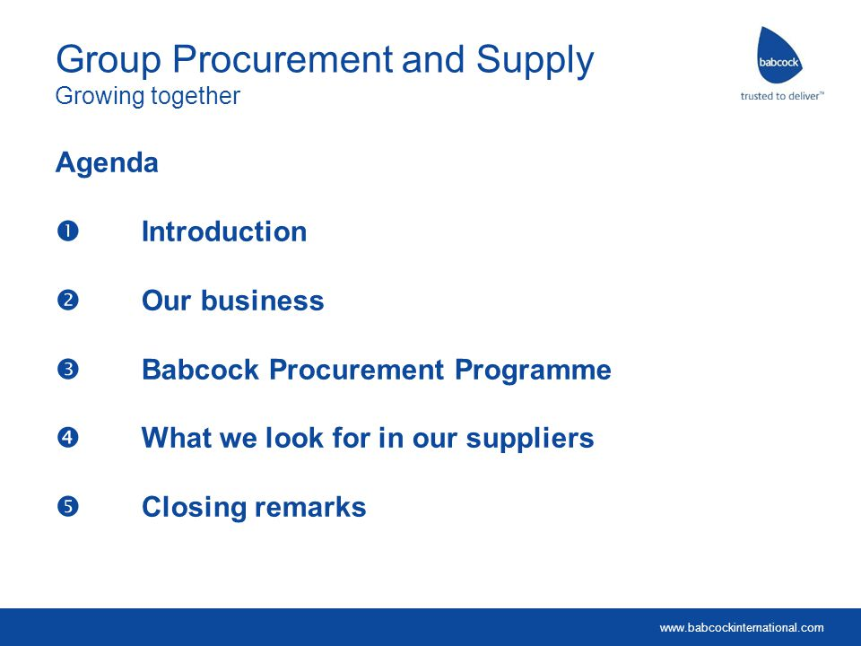Group Procurement and Supply Growing together