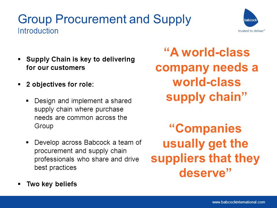 Group Procurement and Supply Introduction