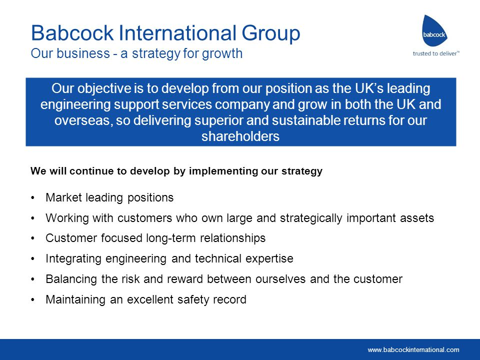 Babcock International Group Our business - a strategy for growth