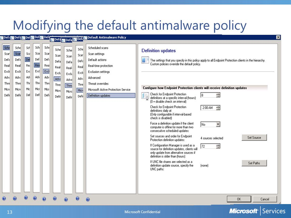 Creating a new antimalware policy