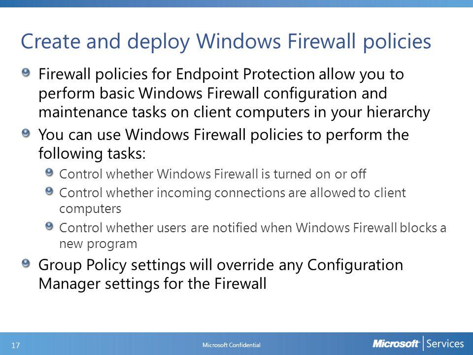 Creating a Windows Firewall policy