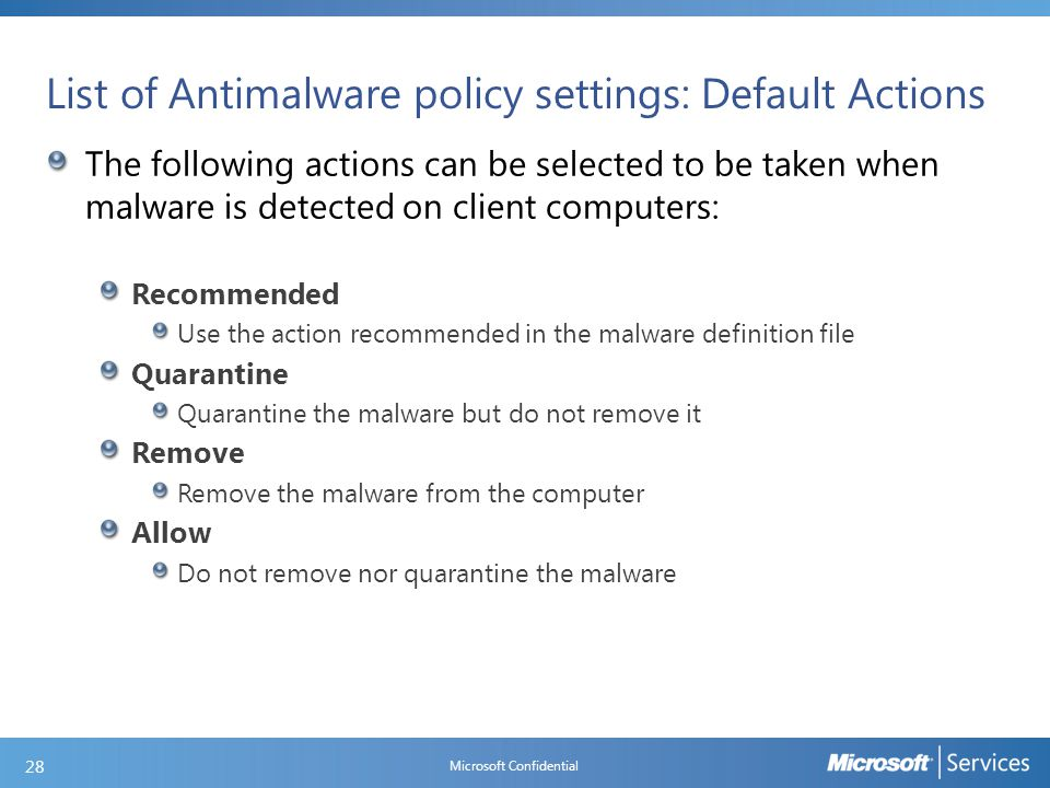 List of Antimalware policy settings: Real-time Protection