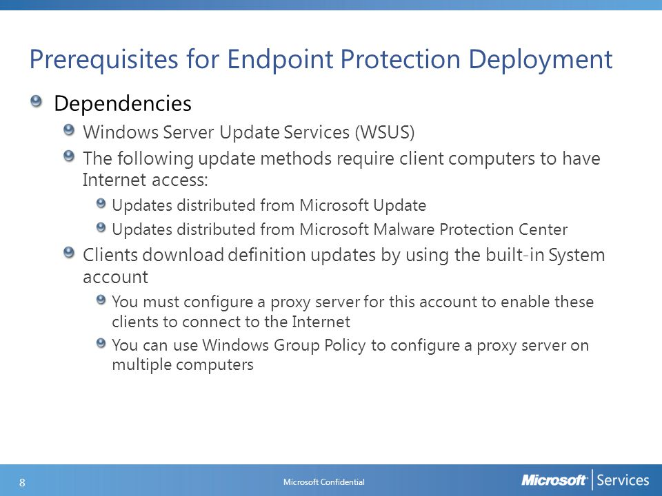 Prerequisites for Endpoint Protection Deployment