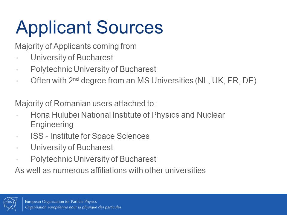 Applicant Sources Majority of Applicants coming from