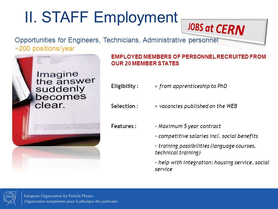 II. STAFF Employment JOBS at CERN