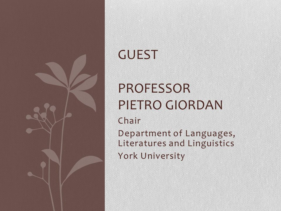 Guest Professor Pietro Giordan