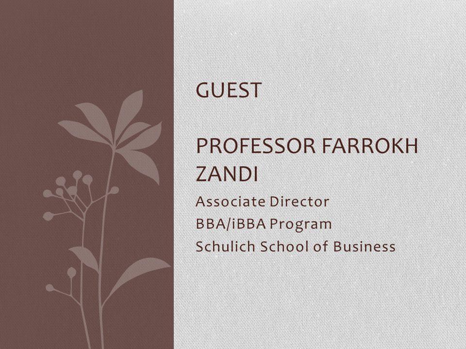guest Professor farrokh zandi