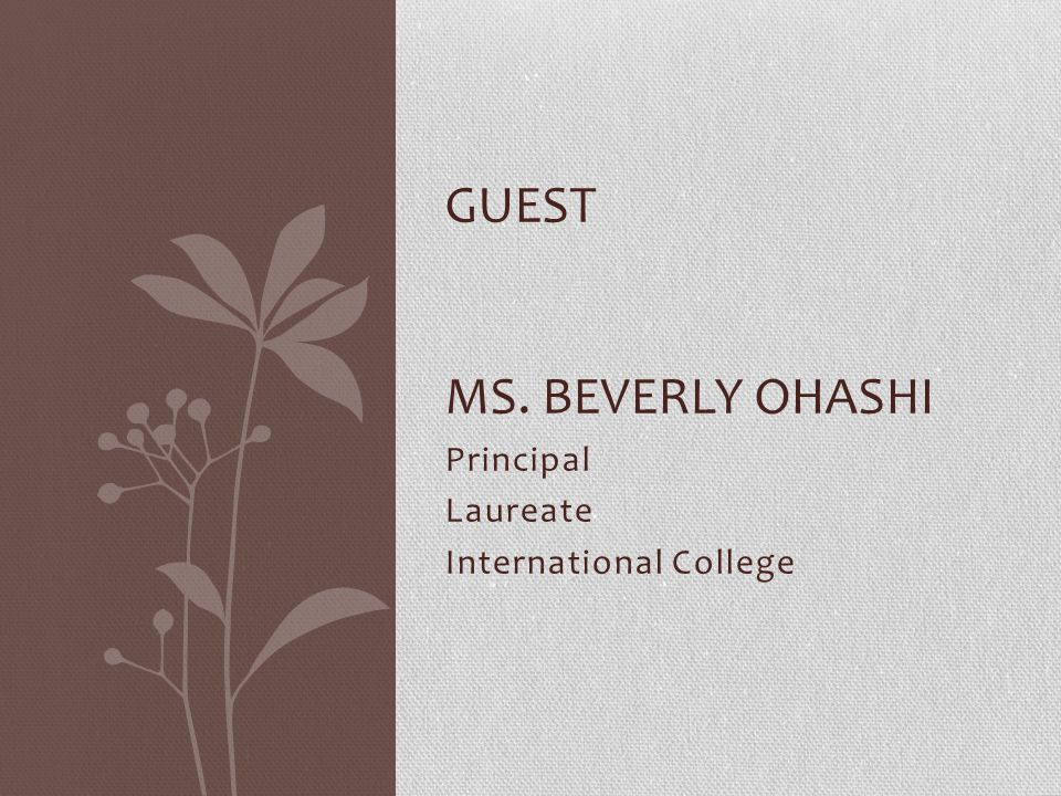 guest Ms. beverly ohashi