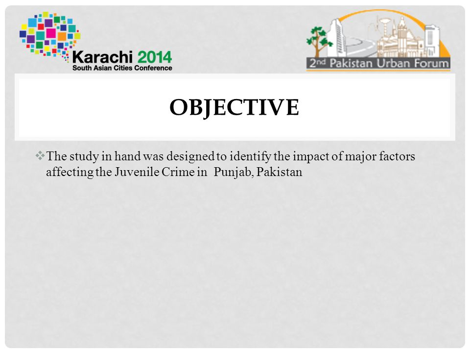 OBJECTIVE The study in hand was designed to identify the impact of major factors affecting the Juvenile Crime in Punjab, Pakistan.