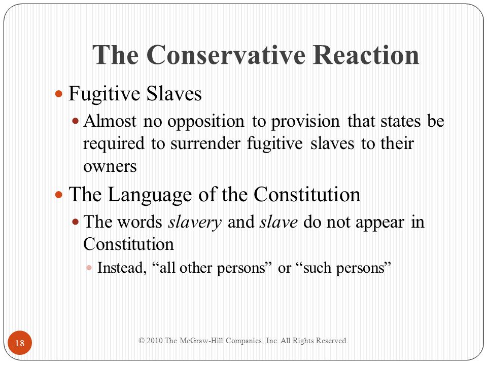 The Conservative Reaction