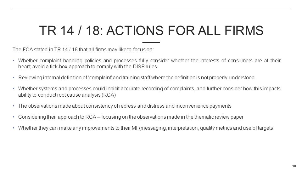 TR 14 / 18: ACTIONS FOR ALL FIRMS