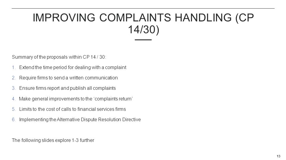 Improving complaints handling (Cp 14/30)