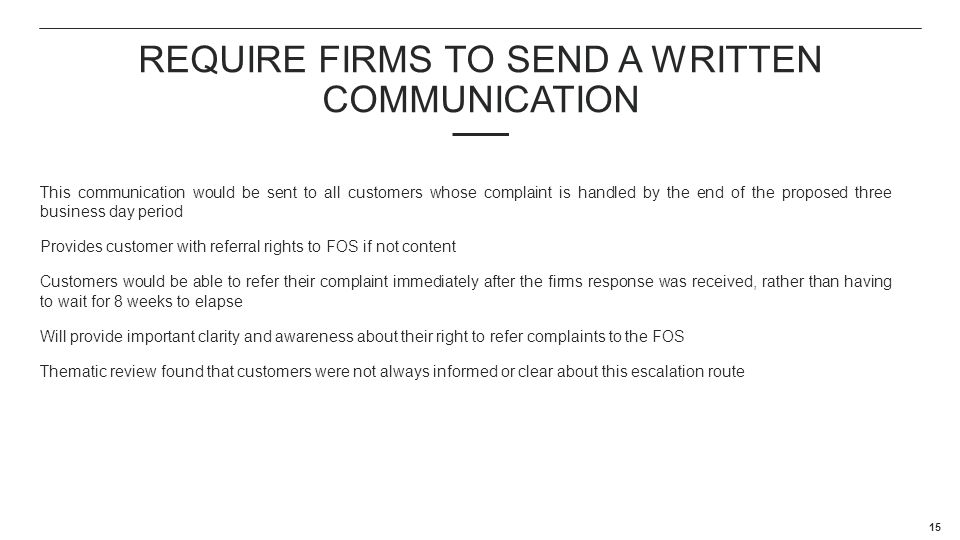 Require firms to send a written communication