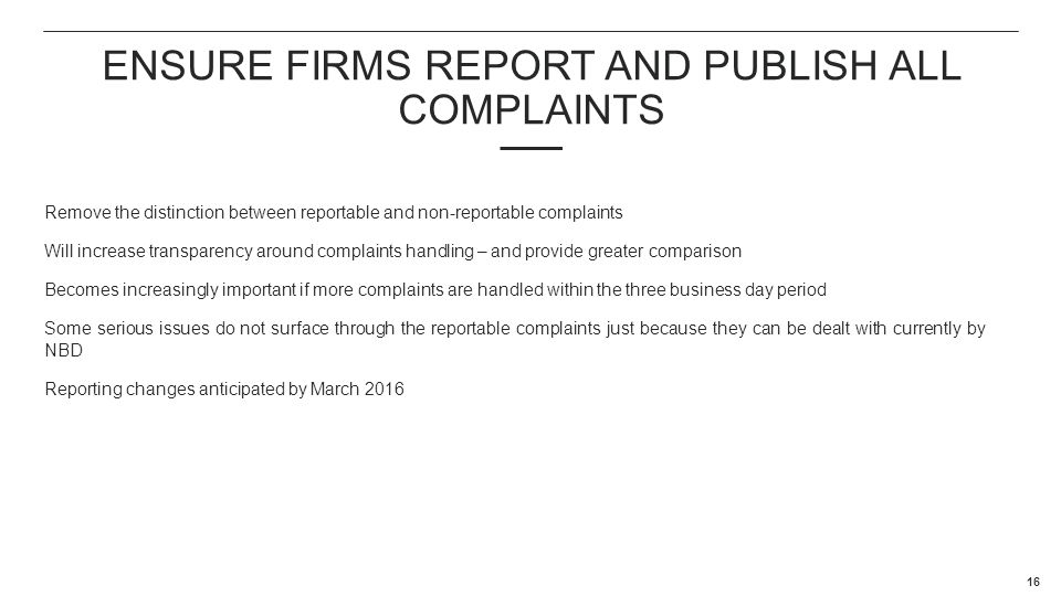 ENSURE FIRMS report and publish all complaints