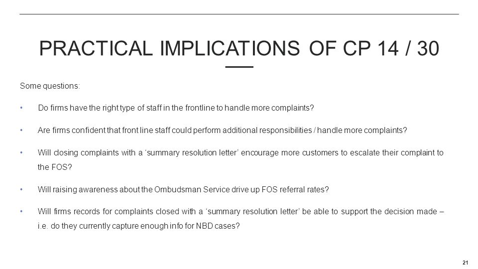 PRACTICAL IMPLICATIONS OF CP 14 / 30