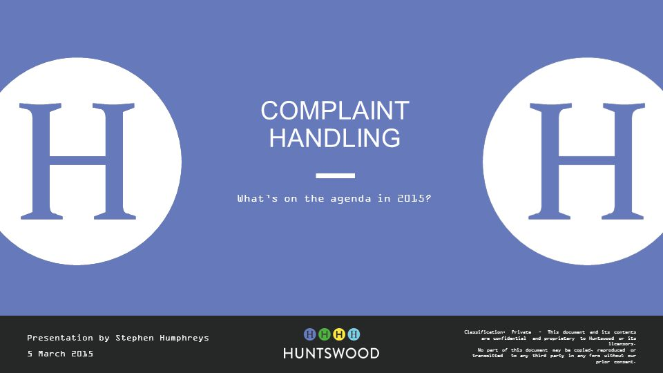 Complaint Handling What's on the agenda in 2015