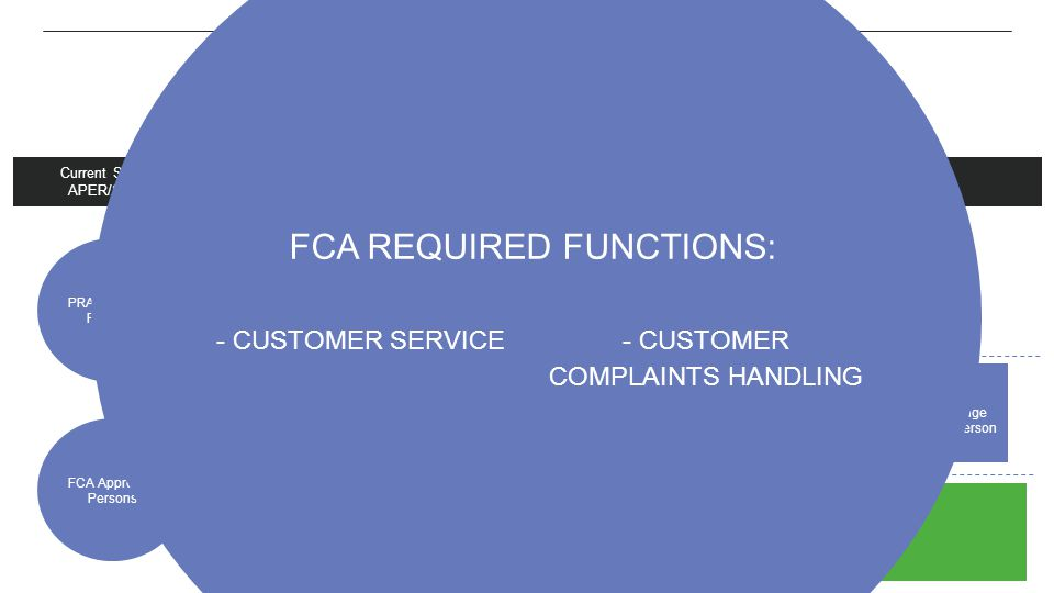 Scope and reach FCA Required Functions: - Customer service