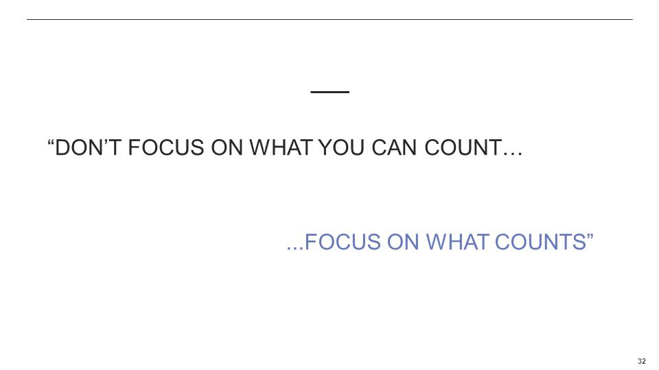 Complaints MI Don't focus on what you can count…