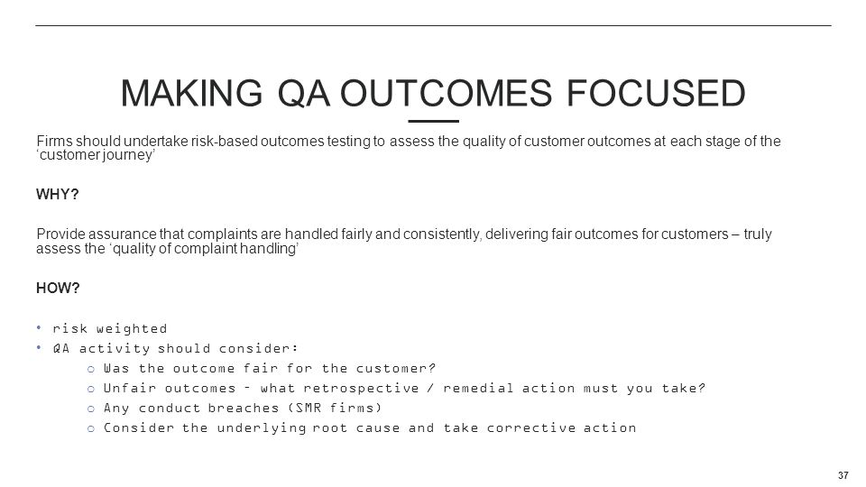 Making QA Outcomes focused