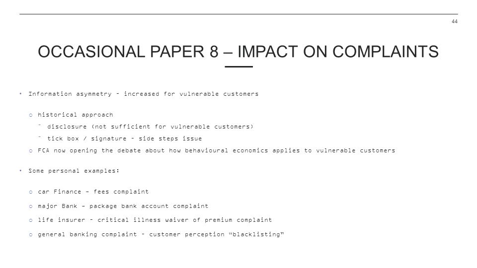 Occasional Paper 8 – Impact on complaints