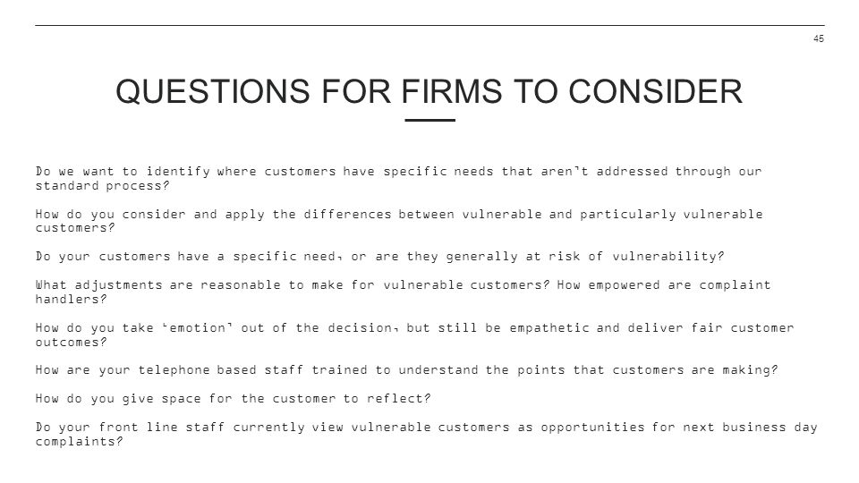 Questions for firms to consider