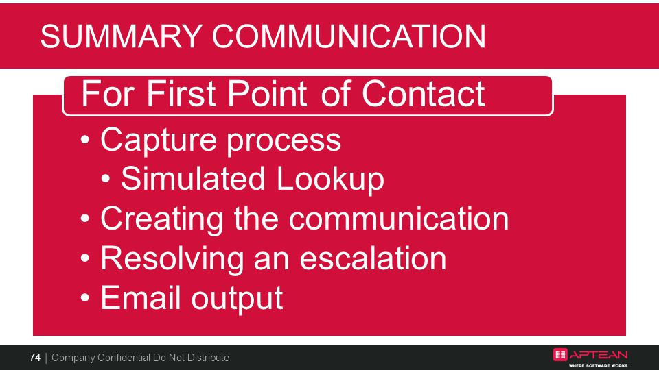 Summary Communication