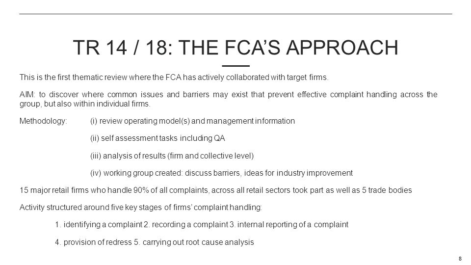 TR 14 / 18: The FCA's Approach